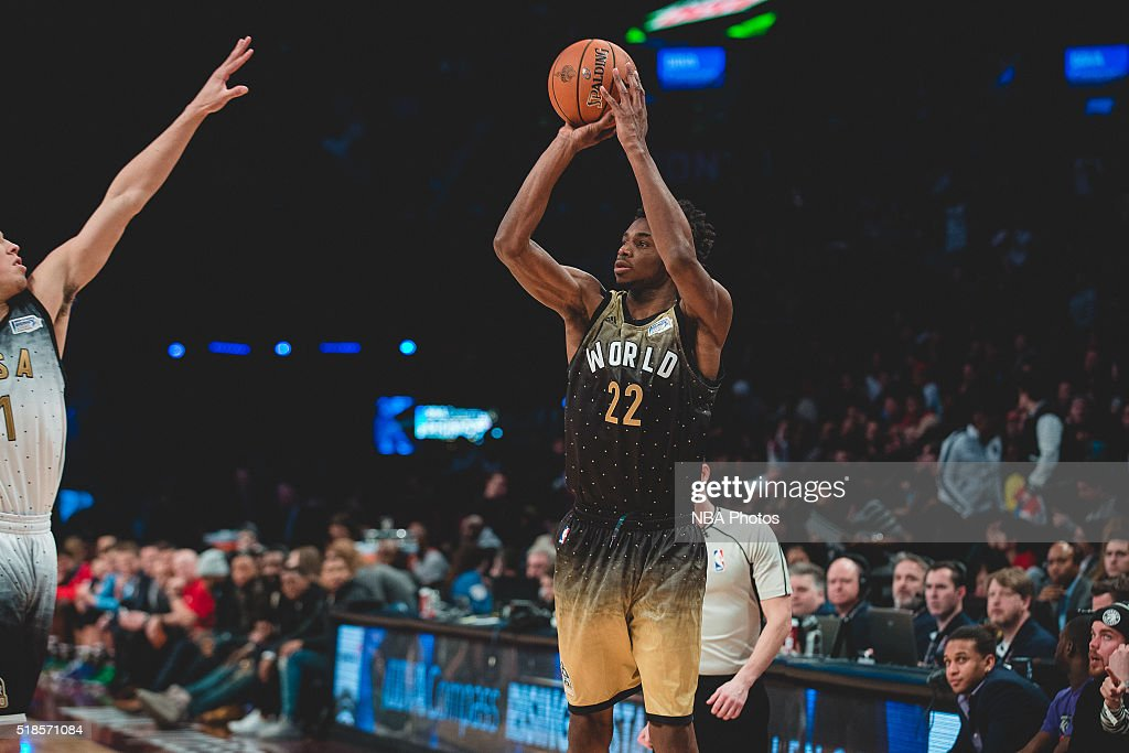 Andrew Wiggins #22 of Team World shoots the ball during the BBVA Compass Rising Stars Challenge as part of 2016 All-Star Weekend at the Ricoh Coliseum on February 12, 2016 in Toronto, Ontario, Canada.