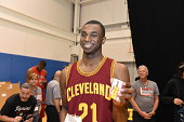 Andrew Wiggins of the Cleveland Cavaliers behing the scenes during the 2014 NBA rookie photo shoot on August 3 2014 at the Madison Square Garden...