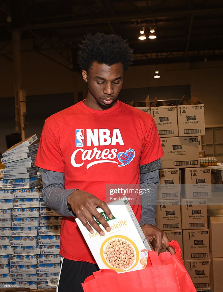 Andrew Wiggins of the Minnesota Timberwolves boxes food during the NBA Cares All-Star Day of Service as part of 2016 All-Star Weekend at NBA Centre Court of the Enercare Centre on February 12, 2016 in Toronto, Ontario, Canada.