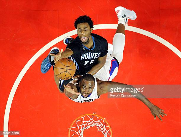 Andrew Wiggins of the Minnesota Timberwolves drives to the basket over Luc Richard Mbah a Moute of the Los Angeles Clippers during the second half of...