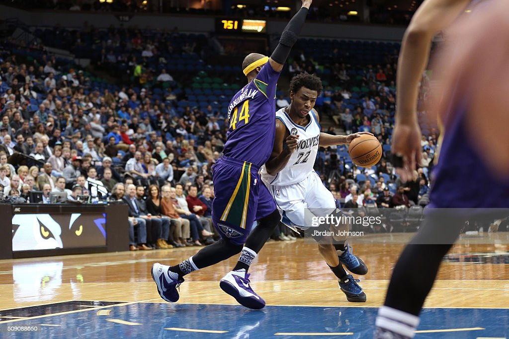 <a gi-track='captionPersonalityLinkClicked' href=/galleries/search?phrase=Andrew+Wiggins&family=editorial&specificpeople=7720937 ng-click='$event.stopPropagation()'>Andrew Wiggins</a> #22 of the Minnesota Timberwolves drives to the basket during the game against the New Orleans Pelicans on February 8, 2016 at Target Center in Minneapolis, Minnesota.