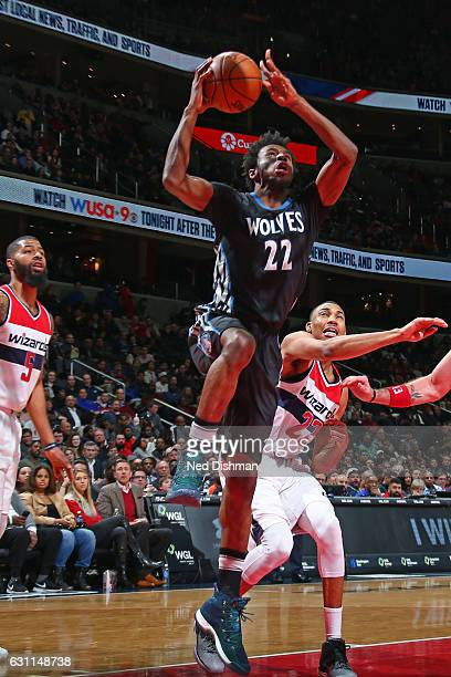 Andrew Wiggins of the Minnesota Timberwolves drives to the basket against the Washington Wizards on January 6 2017 at Verizon Center in Washington DC...