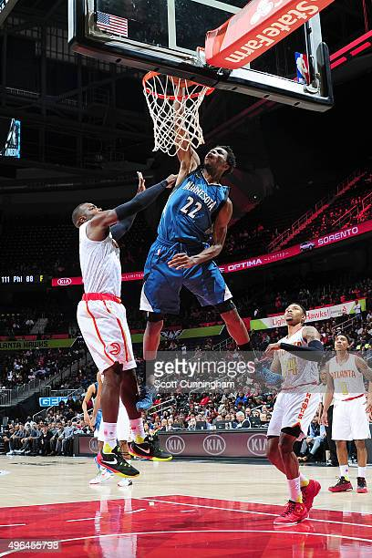 Andrew Wiggins of the Minnesota Timberwolves dunks against Atlanta Hawks during the game on November 9 2015 at Philips Arena in Atlanta Georgia NOTE...