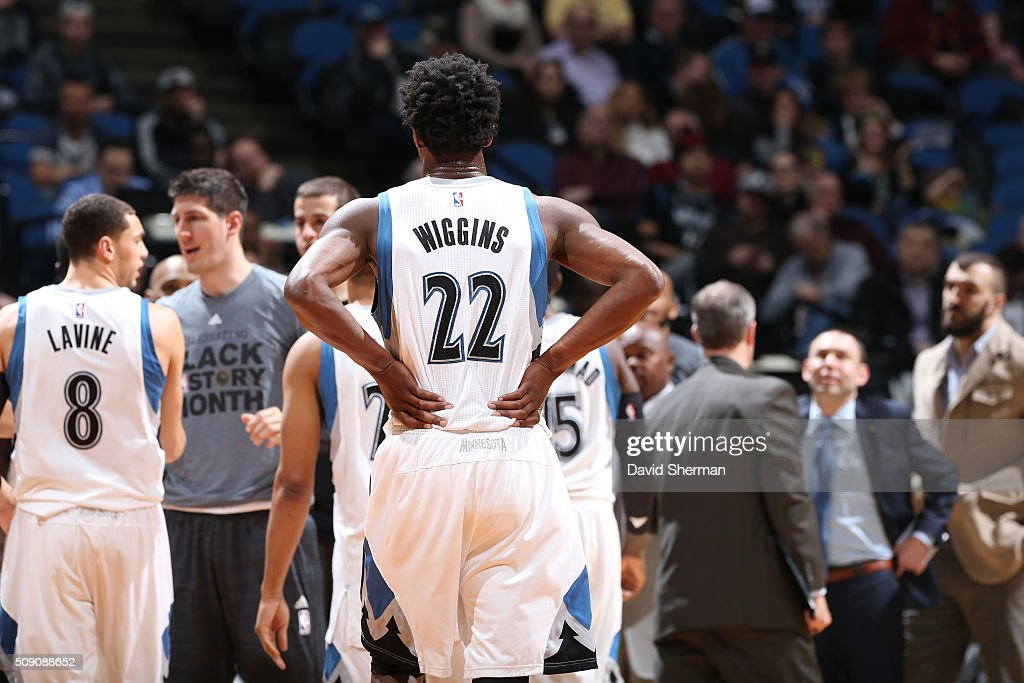 <a gi-track='captionPersonalityLinkClicked' href=/galleries/search?phrase=Andrew+Wiggins&family=editorial&specificpeople=7720937 ng-click='$event.stopPropagation()'>Andrew Wiggins</a> #22 of the Minnesota Timberwolves during the game against the New Orleans Pelicans on February 8, 2016 at Target Center in Minneapolis, Minnesota.