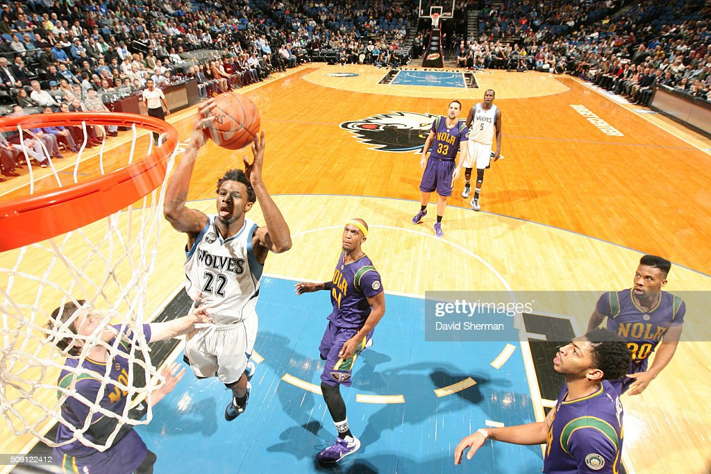 <a gi-track='captionPersonalityLinkClicked' href=/galleries/search?phrase=Andrew+Wiggins&family=editorial&specificpeople=7720937 ng-click='$event.stopPropagation()'>Andrew Wiggins</a> #22 of the Minnesota Timberwolves goes for the lay up against the New Orleans Pelicans during the game on February 8, 2016 at Target Center in Minneapolis, Minnesota.