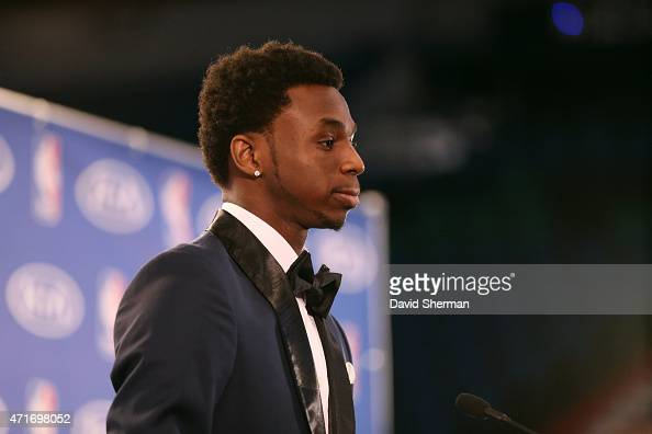 Andrew Wiggins of the Minnesota Timberwolves is presented with the 2014 2015 Kia NBA Rookie of the Year Award on April 30 2015 at Target Center in...