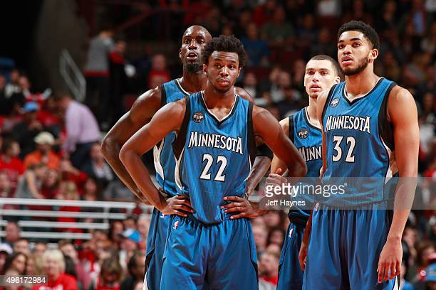 Andrew Wiggins of the Minnesota Timberwolves Kevin Garnett of the Minnesota Timberwolves KarlAnthony Towns of the Minnesota Timberwolves and Zach...