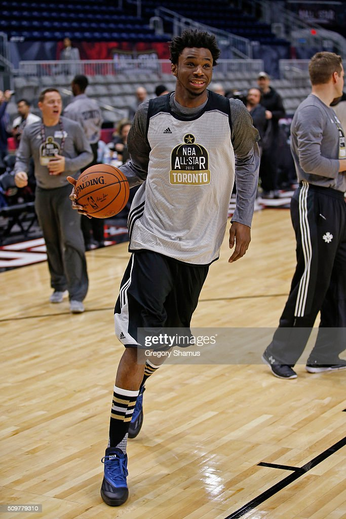 <a gi-track='captionPersonalityLinkClicked' href=/galleries/search?phrase=Andrew+Wiggins&family=editorial&specificpeople=7720937 ng-click='$event.stopPropagation()'>Andrew Wiggins</a> #22 of the Minnesota Timberwolves participates during the BBVA Rising Stars Challenge Practice as part of 2016 All-Star Weekend at NBA Centre Court of the Enercare Centre on February 12, 2016 in Toronto, Ontario, Canada.