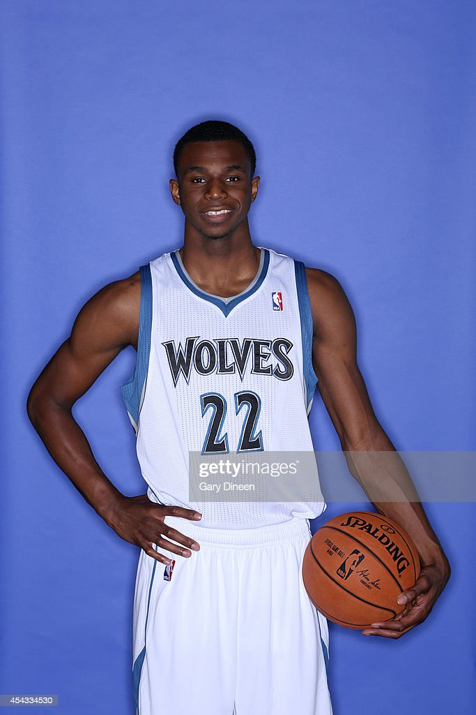 Andrew Wiggins #22 of the Minnesota Timberwolves poses for portraits on August 26, 2014 at Target Center in Minneapolis, Minnesota.