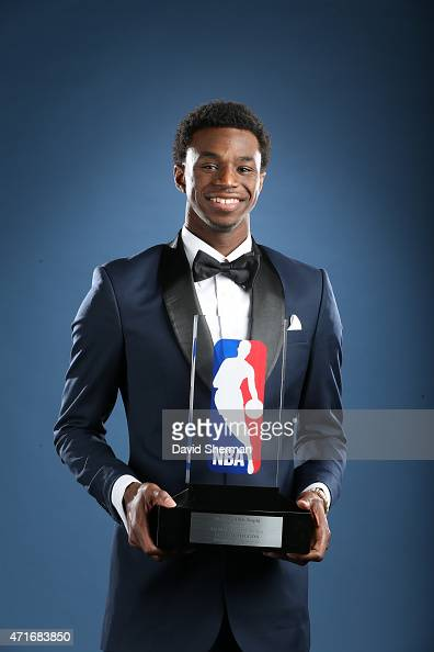 Andrew Wiggins of the Minnesota Timberwolves poses with the Eddie Gottlieb trophy as he is named the 2014 2015 Kia NBA Rookie of the Year Award on...