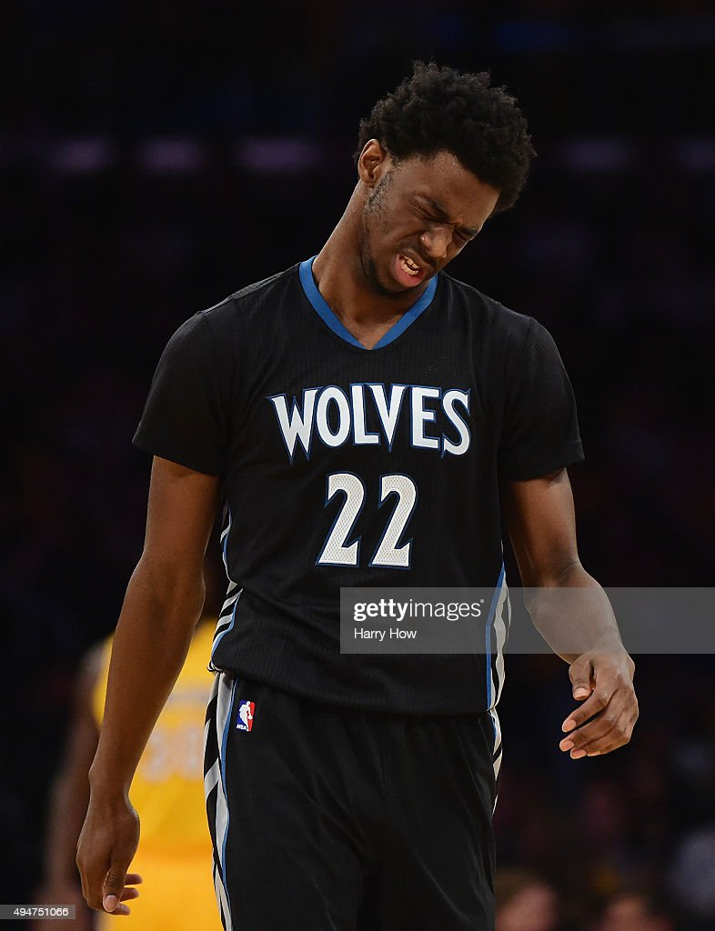 <a gi-track='captionPersonalityLinkClicked' href=/galleries/search?phrase=Andrew+Wiggins&family=editorial&specificpeople=7720937 ng-click='$event.stopPropagation()'>Andrew Wiggins</a> #22 of the Minnesota Timberwolves reacts after an injury on a play during the first quarter against the Los Angeles Lakers at Staples Center on October 28, 2015 in Los Angeles, California.