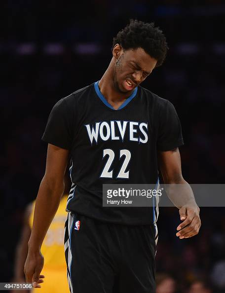Andrew Wiggins of the Minnesota Timberwolves reacts after an injury on a play during the first quarter against the Los Angeles Lakers at Staples...