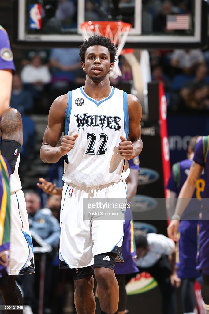 <a gi-track='captionPersonalityLinkClicked' href=/galleries/search?phrase=Andrew+Wiggins&family=editorial&specificpeople=7720937 ng-click='$event.stopPropagation()'>Andrew Wiggins</a> #22 of the Minnesota Timberwolves runs up court against the New Orleans Pelicans during the game on February 8, 2016 at Target Center in Minneapolis, Minnesota.