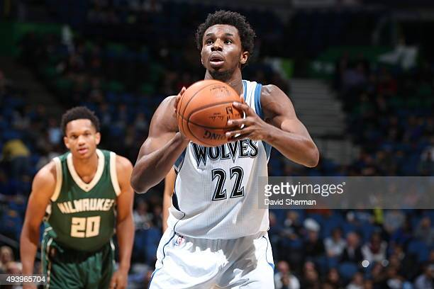 Andrew Wiggins of the Minnesota Timberwolves shoots a free throw against the Milwaukee Bucks during a preseason game on October 23 2015 at Target...