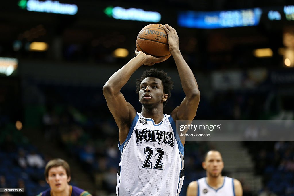 <a gi-track='captionPersonalityLinkClicked' href=/galleries/search?phrase=Andrew+Wiggins&family=editorial&specificpeople=7720937 ng-click='$event.stopPropagation()'>Andrew Wiggins</a> #22 of the Minnesota Timberwolves shoots a free throw during the game against the New Orleans Pelicans on February 8, 2016 at Target Center in Minneapolis, Minnesota.