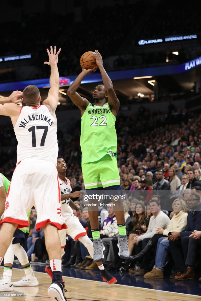 Andrew Wiggins #22 of the Minnesota Timberwolves shoots the ball against the Toronto Raptors on January 20, 2018 at Target Center in Minneapolis, Minnesota.