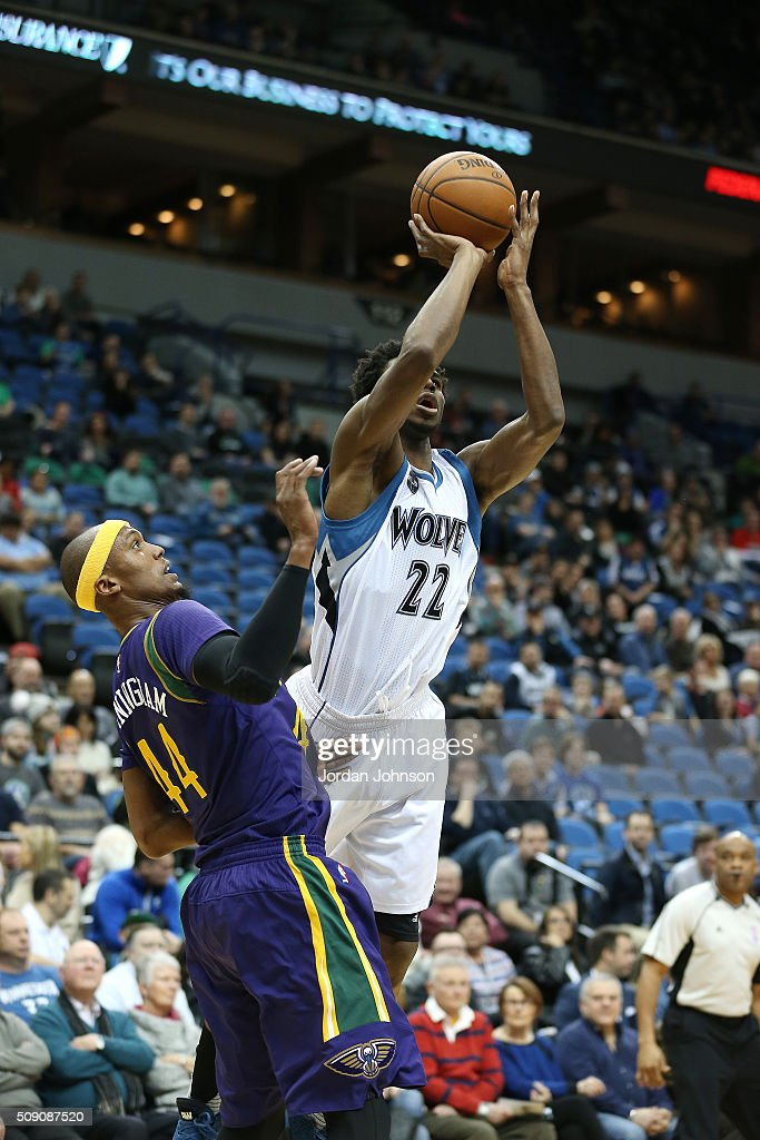 <a gi-track='captionPersonalityLinkClicked' href=/galleries/search?phrase=Andrew+Wiggins&family=editorial&specificpeople=7720937 ng-click='$event.stopPropagation()'>Andrew Wiggins</a> #22 of the Minnesota Timberwolves shoots the ball during the game against the New Orleans Pelicans on February 8, 2016 at Target Center in Minneapolis, Minnesota.