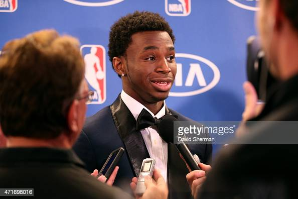Andrew Wiggins of the Minnesota Timberwolves speaks to the media after he is presented with the 2014 2015 Kia NBA Rookie of the Year Award on April...
