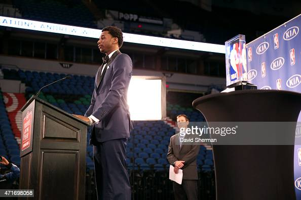 Andrew Wiggins of the Minnesota Timberwolves speaks when he is presented with the 2014 2015 Kia NBA Rookie of the Year Award on April 30 2015 at...