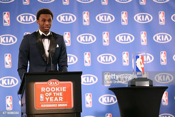 Andrew Wiggins of the Minnesota Timberwolves speaks while he is presented with the 2014 2015 Kia NBA Rookie of the Year Award on April 30 2015 at...