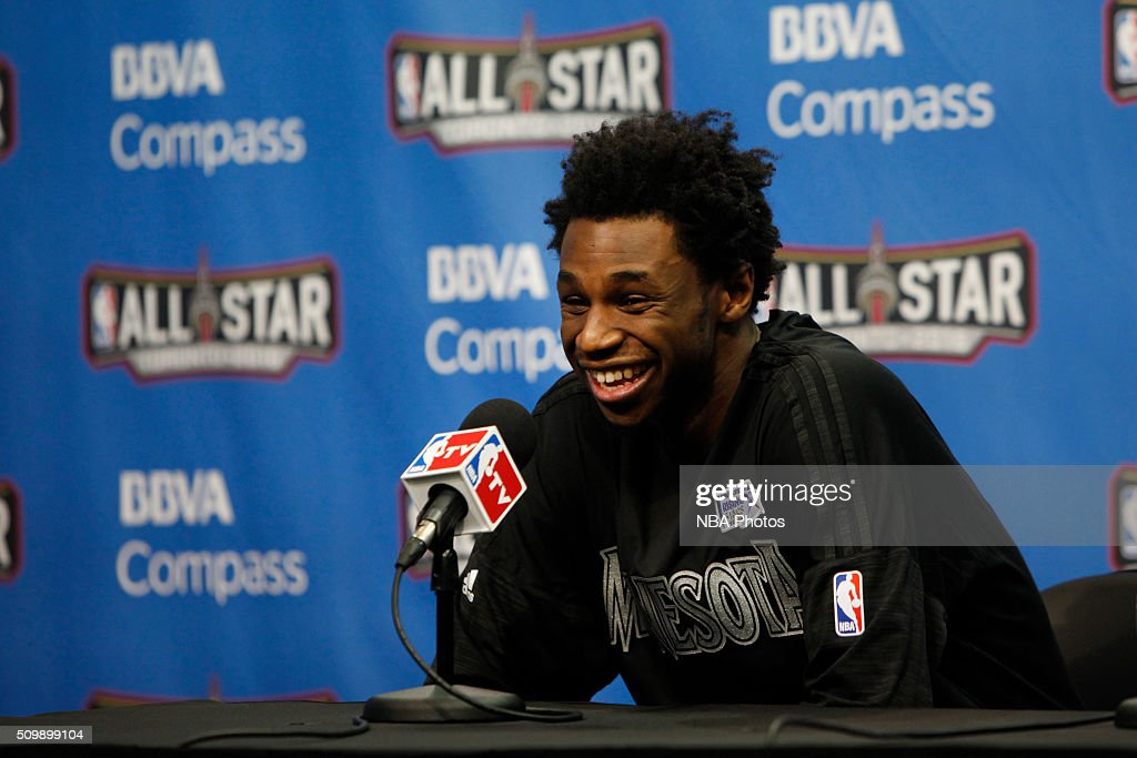 <a gi-track='captionPersonalityLinkClicked' href=/galleries/search?phrase=Andrew+Wiggins&family=editorial&specificpeople=7720937 ng-click='$event.stopPropagation()'>Andrew Wiggins</a> #22 of the World Team speaks with press after the BBVA Compass Rising Stars Challenge against the USA Team as part of the 2016 NBA All Star Weekend on February 12, 2016 at Air Canada Centre in Toronto, Ontario.