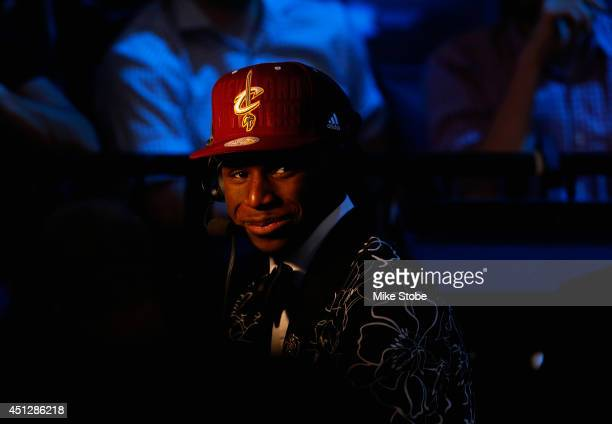 Andrew Wiggins smiles during an interview after being drafted overall in the first round by the Cleveland Cavaliers during the 2014 NBA Draft at...