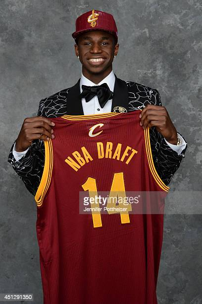 Andrew Wiggins the first pick overall in the NBA Draft by the Cleveland Cavaliers poses for a portrait during the 2014 NBA Draft at the Barclays...