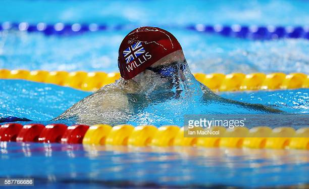 Andrew Willis of Great Britain competes in the heats of the Men's 200m Breaststroke on Day 4 of the Rio 2016 Olympic Games at the Olympic Aquatics...