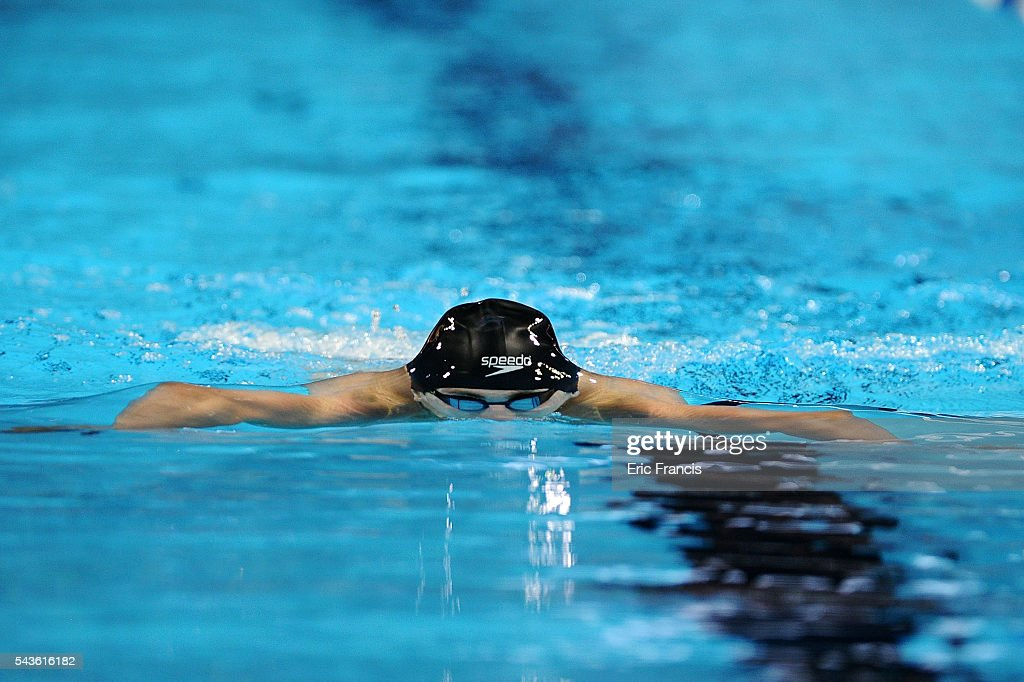 Andrew Wilson competes in a preliminary heat of the Men's 200 Meter Breaststroke during Day 4 of the 2016 U.S. Olympic Team Swimming Trials at CenturyLink Center on June 29, 2016 in Omaha, Nebraska.
