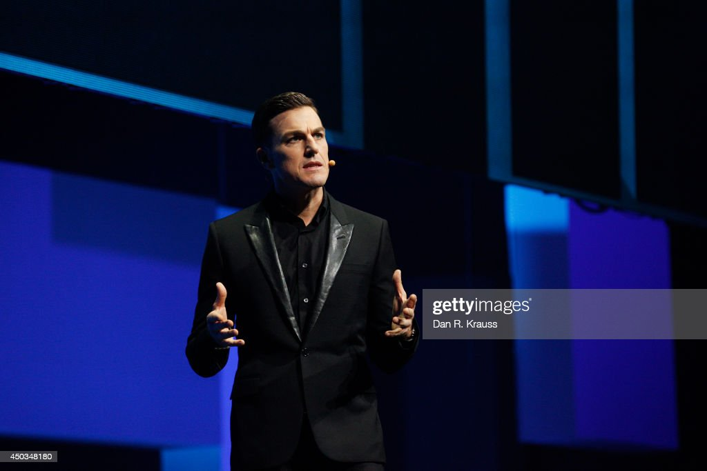 Andrew Wilson, EA Chief Executive Officer, speaks during the EA press conference for the Electronic Entertainment Expo at Shrine Auditorium June 9, 2014 in Los Angeles, California. The annual video game conference and show runs from June 10-12.