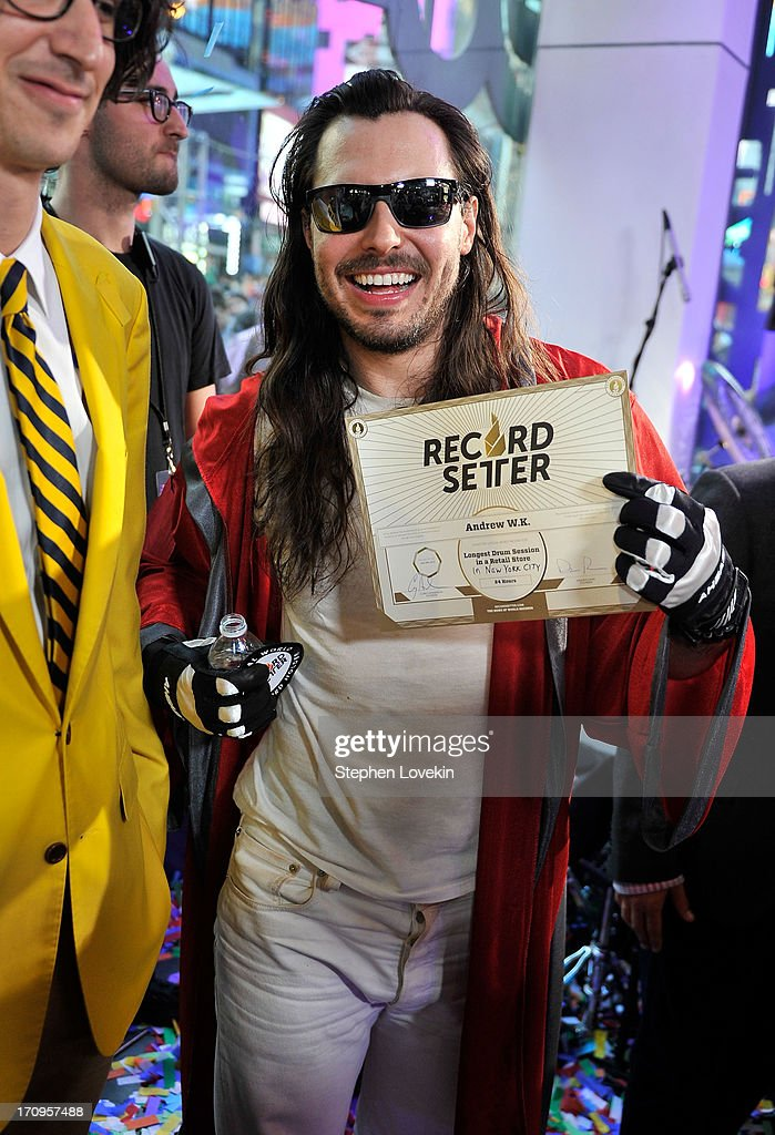 <a gi-track='captionPersonalityLinkClicked' href=/galleries/search?phrase=Andrew+W.K.&family=editorial&specificpeople=609488 ng-click='$event.stopPropagation()'>Andrew W.K.</a> breaks world record for drumming in a retail store in New York during the MTV, VH1, CMT & LOGO 2013 O Music Awards on June 20, 2013 in New York City.