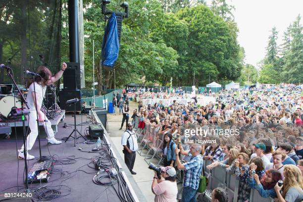 Andrew WK parties on stage during an acoustic Endsession backstage during the Summer Camp Music Festival hosted by 1077 The End at Marymoor Park on...