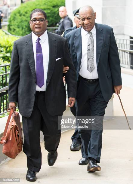 Andrew Wyatt and actor Bill Cosby arrive at Montgomery County Courthouse as Bill Cosby's trial continues on June 17 2017 in Norristown Pennsylvania