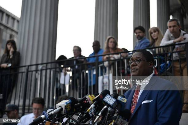 Andrew Wyatt spokesperson for Bill Cosby holds a press conference outside Montgomery Courthouse in Norristown Pennsylvania on June 16 2017