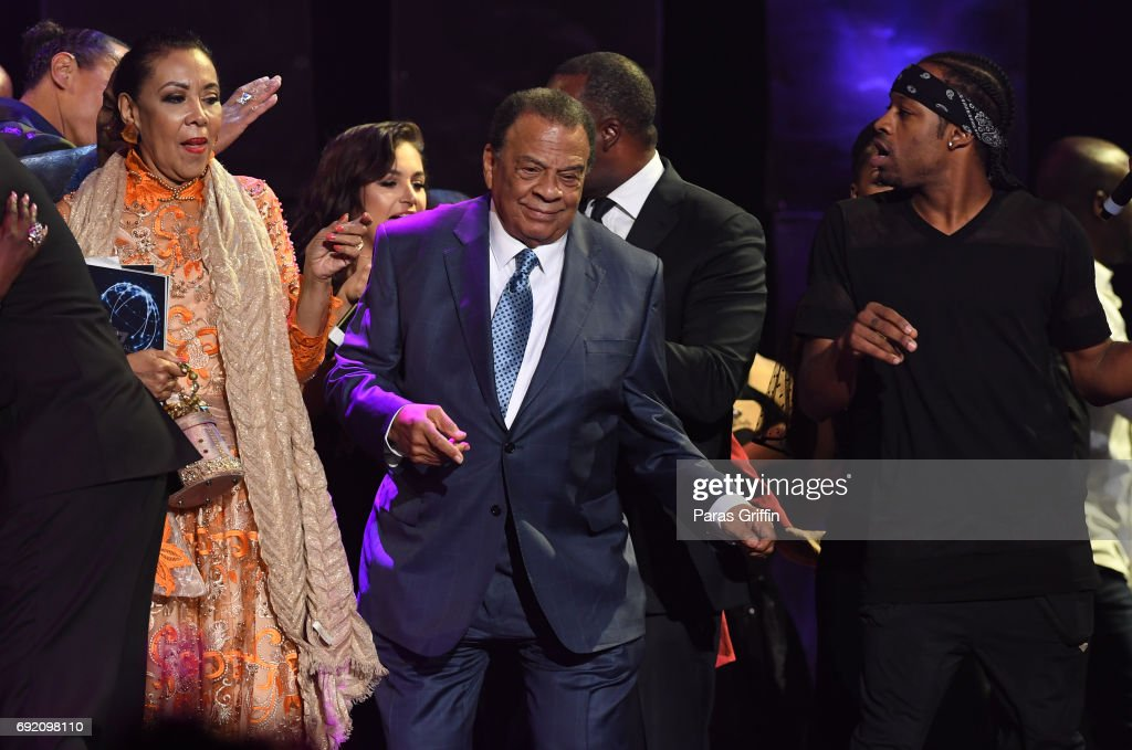 Andrew Young dance onstage at 2017 Andrew Young International Leadership Awards and 85th Birthday Tribute at Philips Arena on June 3, 2017 in Atlanta, Georgia.