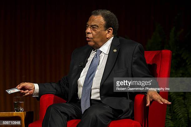 APRIL 09 2014 Andrew Young former congressman and Ambassador to the United Nations holds a social security card with his picture on it to make a...