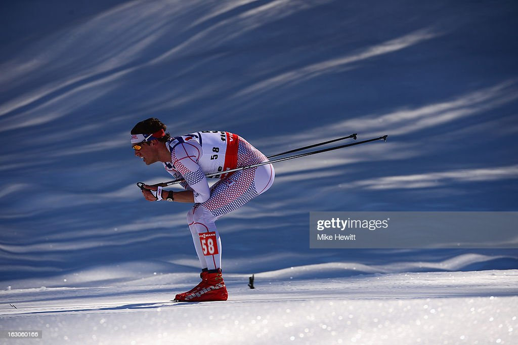 Andrew Young of Great Britain in action during the Men's 50Km Cross Country Mass Start at the FIS Nordic World Ski Championships on March 3, 2013 in Val di Fiemme, Italy.