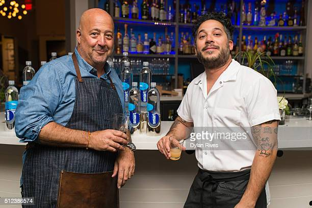 Andrew Zimmern and Carlo Mirarchi talking during 2016 Food Network Cooking Channel South Beach Wine Food Festival Presented By FOOD WINE at Vagabond...