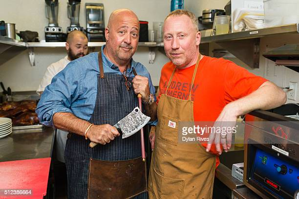 Andrew Zimmern and JP Samuelson pose during 2016 Food Network Cooking Channel South Beach Wine Food Festival Presented By FOOD WINE at Vagabond...