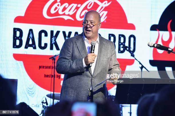 Andrew Zimmern speaks onstage at the Food Network Cooking Channel New York City Wine Food Festival Presented By CocaCola CocaCola Backyard BBQ...