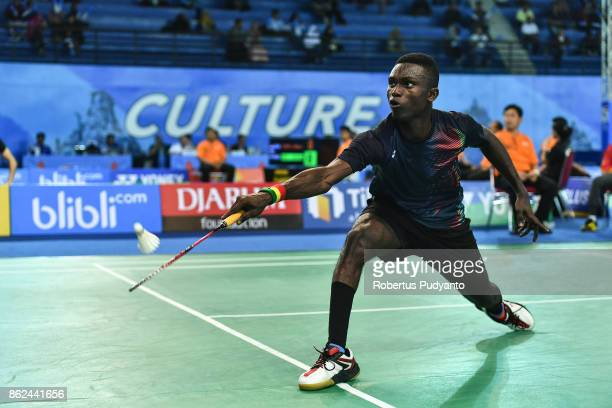 Andrews Ebenezer of Ghana competes against Cristian Savin of Moldova during Men Single qualification round of the BWF World Junior Badminton...