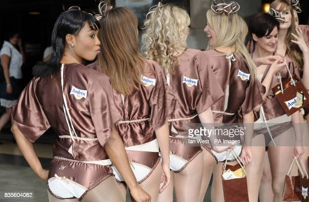 Andrex models attend a photocall to help launch the new Andrex Shea Butter Toilet Tissue and the new limited edition Andrex Shea Butter Knickers to...