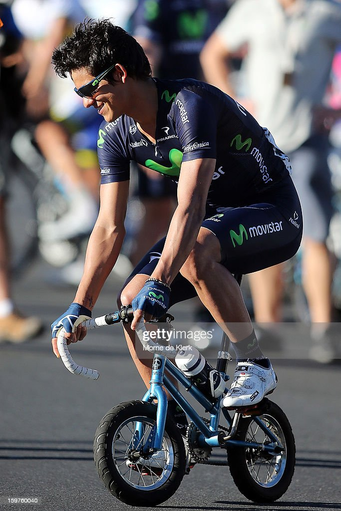 Andrey Amador of Costa Rica and the Movistar team rides a mini bicycle before the People's Choice Classic race of the Tour Down Under on January 20, 2013 in Adelaide, Australia.