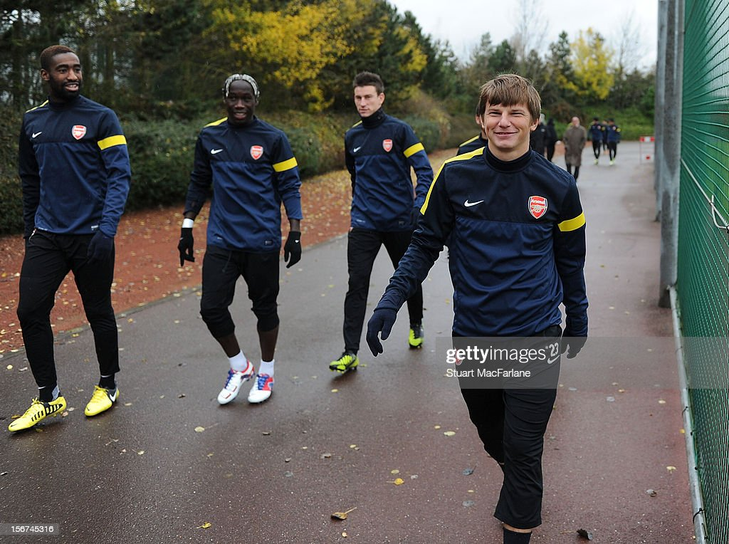 Andrey Arshavin of Arsenal during a training session at London Colney on November 20, 2012 in St Albans, England.