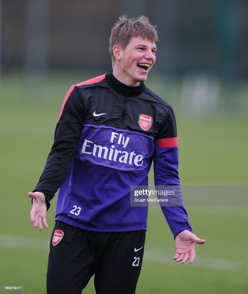 Andrey Arshavin of Arsenal during a training session at London Colney on January 29, 2013 in St Albans, England.