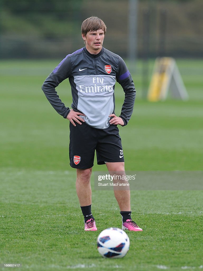 Andrey Arshavin of Arsenal during a training session at London Colney on April 15, 2013 in St Albans, England.