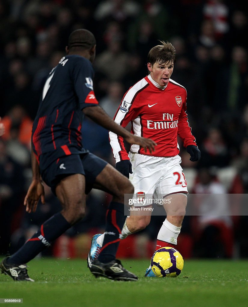 Andrey Arshavin of Arsenal runs at the Bolton defence during the Barclays Premier League match between Arsenal and Bolton Wanderers at The Emirates Stadium on January 20, 2010 in London, England.
