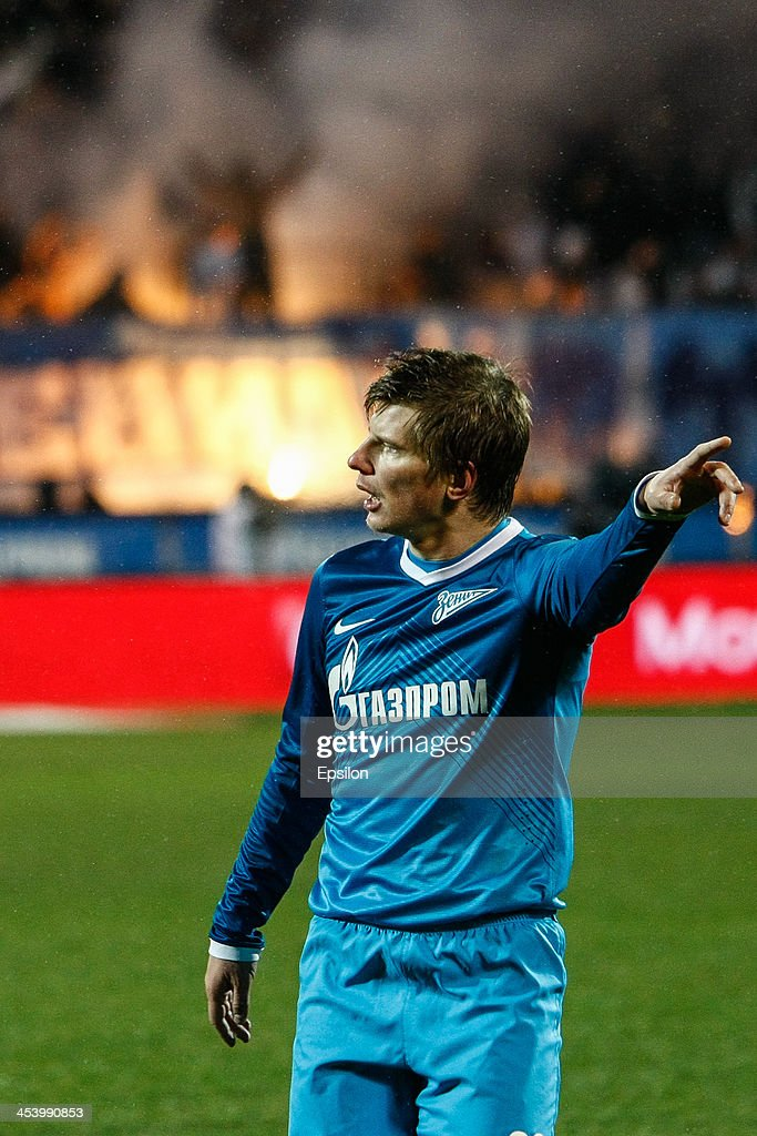 Andrey Arshavin of FC Zenit St. Petersburg reacts during the Russian Football League Championship match between FC Zenit St. Petersburg and FC Ural Sverdlovsk Oblast at the Petrovsky stadium on December 6, 2013 in St. Petersburg, Russia.