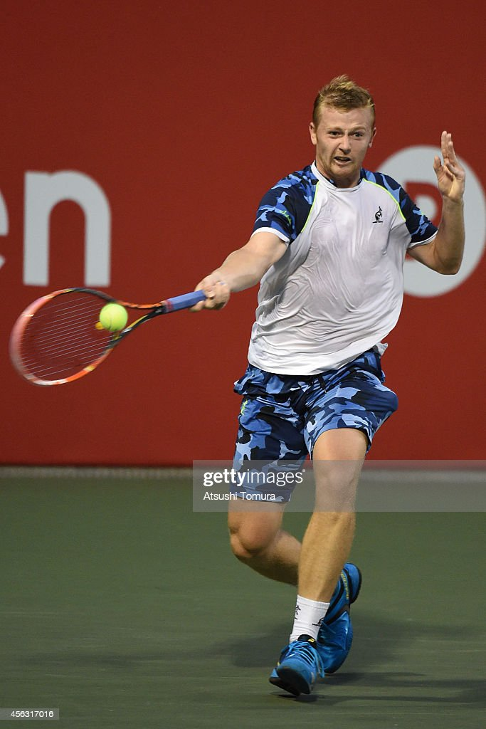 <a gi-track='captionPersonalityLinkClicked' href=/galleries/search?phrase=Andrey+Golubev&family=editorial&specificpeople=5369471 ng-click='$event.stopPropagation()'>Andrey Golubev</a> of Kazakhstan in action during the men's singles first round match against <a gi-track='captionPersonalityLinkClicked' href=/galleries/search?phrase=Pierre-Hugues+Herbert&family=editorial&specificpeople=5946735 ng-click='$event.stopPropagation()'>Pierre-Hugues Herbert</a> of France on day one of Rakuten Open 2014 at Ariake Colosseum on September 29, 2014 in Tokyo, Japan.