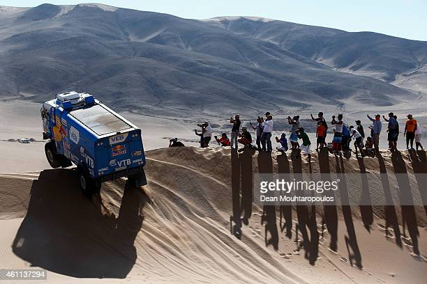 Andrey Karginov Andrey Mokeev and Igor Leonov of Russia for Team Kamaz Master compete during day 4 of the Dakar Rallly on January 7 2015 between...
